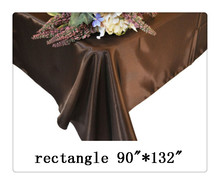 "Free shipping rectangle tablecloth size 90""*132"" color chocolate for wedding decoration /cinta rustica decoracion"