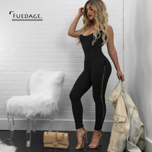 Fuedage Autumn Winter Jumpsuits Women 2017 New Body Sexy Lace Up Bandage Rompers Bodycon Solid Club Party Jumpsuits Overalls