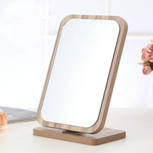 1PC Wooden makeup mirror European minimalist collapsible vanity mirror Portable portable beauty mirror HD 17E15D5