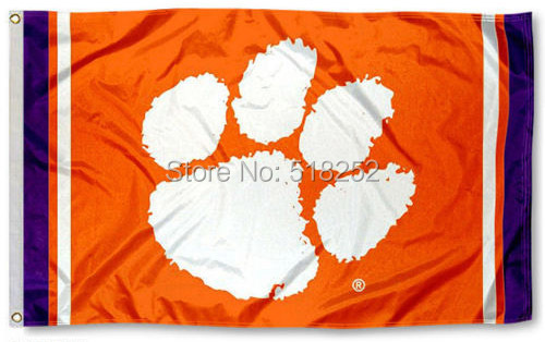 Clemson Tigers Jersey Stripes Flag 3x5 FT NCAA 150X90CM Banner 100D Polyester Custom flag grommets 6038,free shipping(China (Mainland))