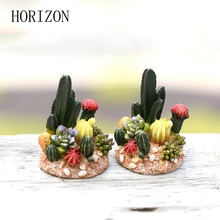 Newest 1pcs Artificial Cactus Cacti Fairy Garden Resin Figurine Succulent Home Garden Indoor Outdoor Decoration Gnome