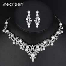 Mecresh Trendy Simulated Pearl Bridal Jewelry Sets Plant Crystal Necklace Sets 2017 Hot Wedding Jewelry Engagement Gift MTL494(China)