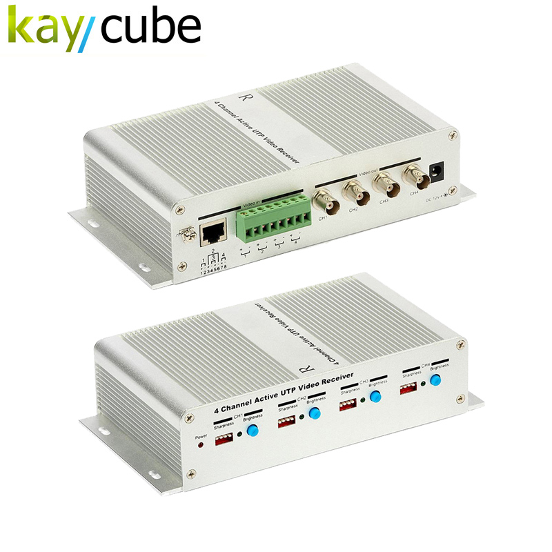 4 Channel Active Power Video Balun Transmission 4 Ch Active Video Receiver Utp Video Balun Hub Twisted Pair Female BNC Keycube<br>