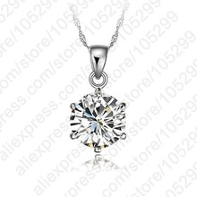 PATICO Cheapest!!!925 Sterling Silver Necklace Women 2017 Wedding Jewelry 6 Claw Cubic Zircon Pendant Engagement(China)