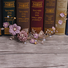 Buy Fashion Gold Wedding Hair Accessories Purple Flower Headband Handmade Headdress Crystal Hairband Bridal Party Women Hair Jewelry for $5.83 in AliExpress store