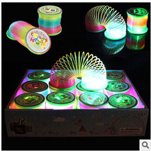 2017 Hot 1pcs lantern rainbow circle cartoon toys design Flash plastic spring coil With the rod and rope luminous lighting