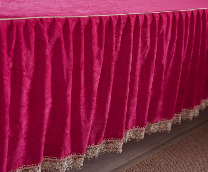 3Pcs Fleece Bed Skirt Set W/ Pillowcases, Mattress Protective Cover 49