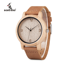 BOBO BIRD WL09 Womens Casual Antique Round Bamboo Wooden Watch With Leather Strap Lady Watches Top Brand Luxury Soft Natural OEM(China)