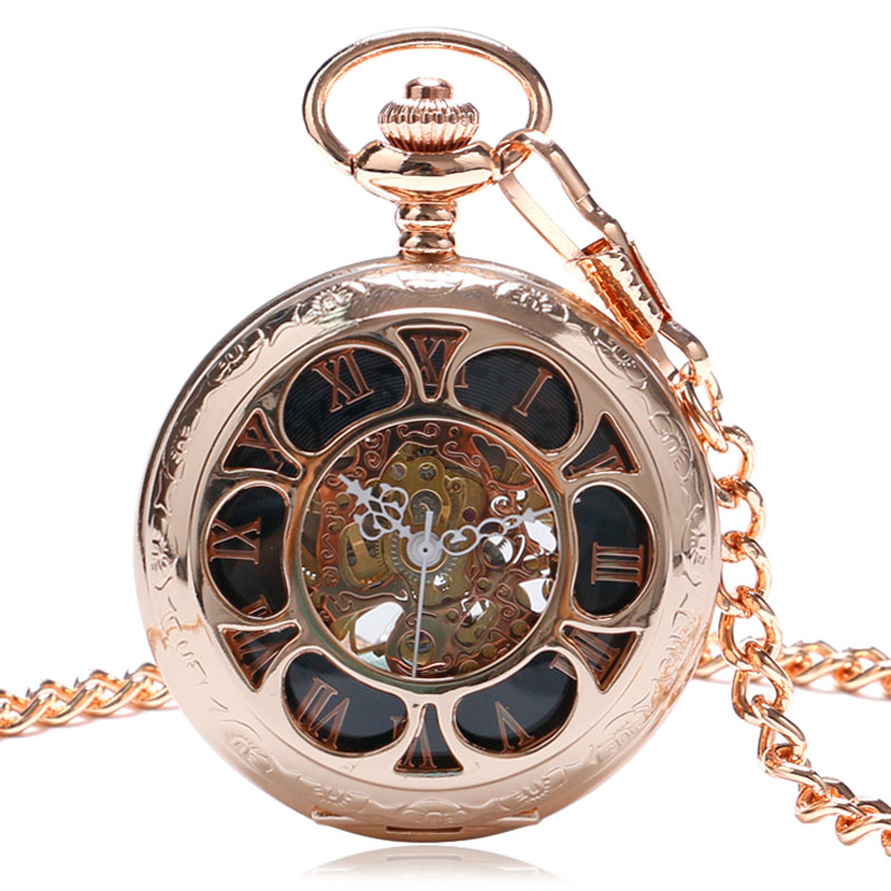 Luxury Delicate Rose Gold Flowers Case Graved Skeleton Mechanical Hand Wind Pocket&amp;Fob Watches Pendant Gift 2017<br><br>Aliexpress