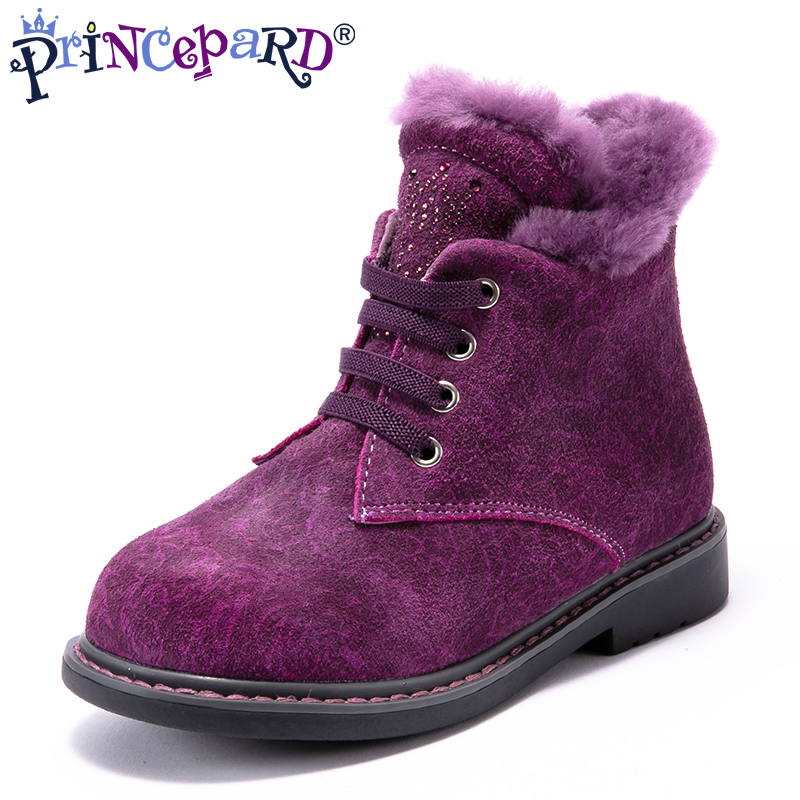 Princepard 2018 winter baby orthopedic boots for girls purple genuine leather children 100% natural fur orthopedic shoes