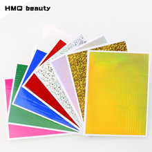 8Sheets/Lot Hot Sale Holographic Nail Foil Paper Red Pink Gold Nail Transfer Stickers Manicure Accessories Nail Art Decorations(China)