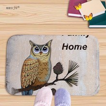 Big discount Bath Kitchen Floor Door Bedroom Mats Carpet Non-Slip Flannel soft Home Rugs owls printed 40x60cm cartoon patterns(China)