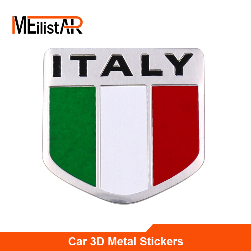 3D Aluminum Italy Map National Flag Car Sticker Car Styling For Fiat Iveco Lamborghini Alfa Romeo DeTomaso Maserati Zagato(China)