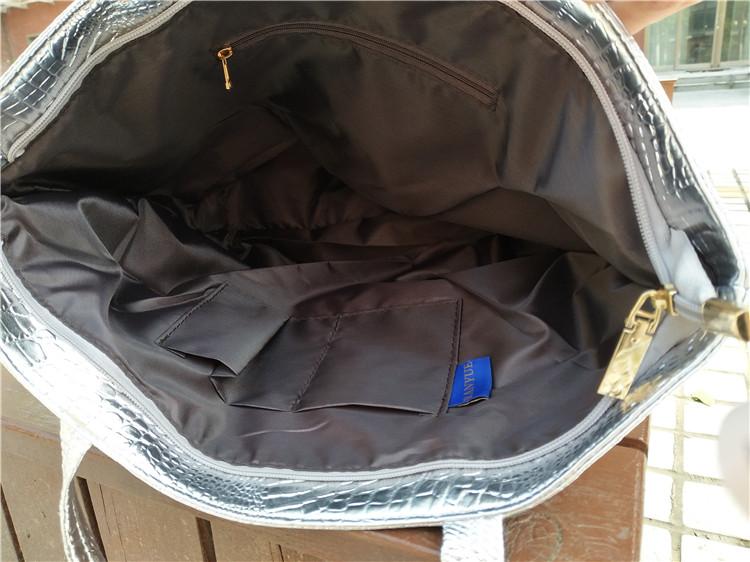 Brand Fashion Casual Women Shoulder Bags Silver Gold Black Crocodile Handbag PU Leather Female Big Tote Bag Ladies Hand Bags Sac 17