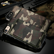 KISSCASE Card Slot Military Phone Cases For iPhone 6 6s 7 Plus Cool Man Stand Holder Camouflage Cover For iPhone 7 6 Plus Fundas