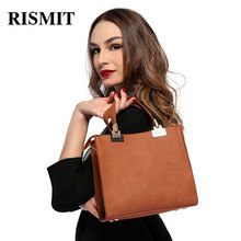 RISMIT 2017 New Designer Handbags High Quality Women Bag Ladies Hand Bags Simple Bucket Shoulder Sac With Short Hand Casual Tote