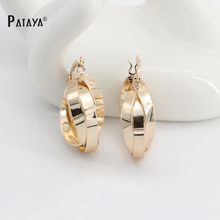 PATAYA New Multilayer Circle Golden Earrings 585 Rose Gold Dangler Wedding Bridal Accessories Bohemian Jewelry Chandelier