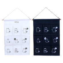 55cmX38cm 9 Bag Cartoon Multi Layer Storage Bag On Walls White Black Collect Decor Hang Bags Behind Doors(China)