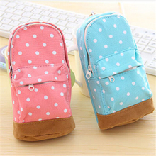 Cute Big Capacity Storage Organizer Bag Dot Polka Wallet School Pencil Case For Kids Girls Cosmetic Bag Pouch Free Shipping 3016