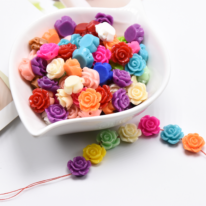 Mix Lots Acrylic Rose Flower Bead Button Sew Diy Beading Craft Embelishment