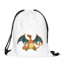 39*30cm Charizard Printing Pokemon Pocket Drawstring Bag Backpack Oxford Drawstring Pouch Storage Bag Best Gift 2016 Hot Sales