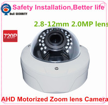 Safety Installation 1.0 Mega Pixel 720P 2.8-12mm Motorized Zoom Lens OSD Controlled Through AHD DVR Auto Zoom Lens AHD Camera(China)