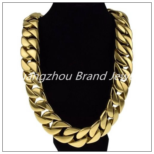 "24""/28"" Huge Heavy Curb Cuban Chain Fashion Jewelry Gold color  316L Stainless Steel Mens Necklace 24/31mm Father's Day Gift"