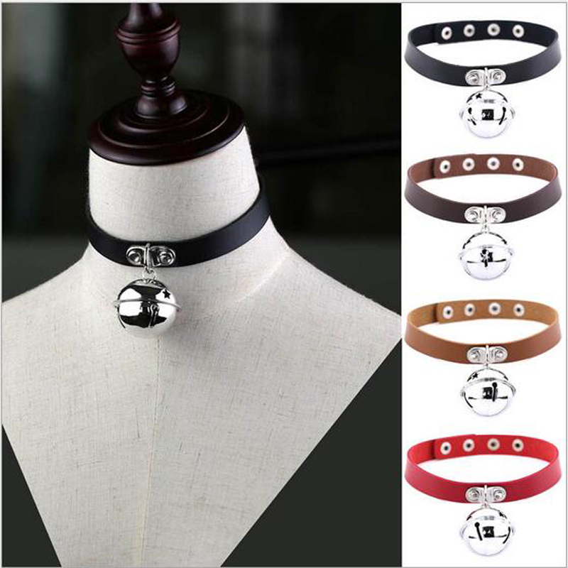 2017 New Women Girls Harness Harajuku Anime Necklaces Bells Pendant Goth Choker Collar Necklace Neck Chocker Jewelry