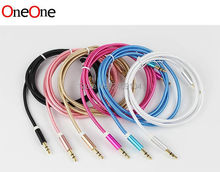 OneOne Aux Cable For Car Audio Usb Cabel Adapter 3.5mm Mini Jack 1m Nylon Extension For Iphone 6s 6 5/Huawei P9 P8 Lite 200pcs