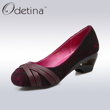 Odetina Mature Ladies Round Toe High Strange Heels New Designer Rattan Plaited Sexy Lace Pumps Fashion Women Spring&Summer Shoes