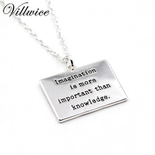 Imagination is more important than knowledge inspirational message engraved pendant necklace for women ladies jewelry gift 2017(China)