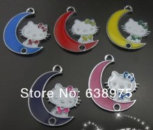 Stocked wholesale 50pcs Hang Pendant Charm mixed color Zinc alloy hello kitty Approximate 25x20mm fit necklace cell phone charm(China)