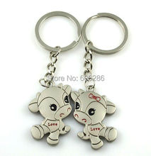 240pcs/lot(120pairs)unique wedding souvenirs for guests lovers metal alloy keychain/ couple key chain keyring(China)