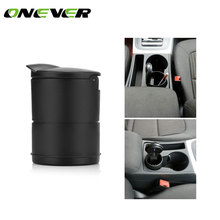 Onever Cylinder Car Cigarette Ashtray for Cup Holder Smokeless with Blue LED Light and Cover Cigarette Ashtray Built-in battery(China)