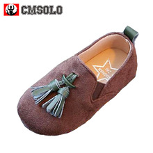 CMSOLO Toddler Girls Shoes Autumn Kids Shoe Slip-on New Fashion Children Loafers Wedding British Style Flat Tassel Kids Shoes(China)