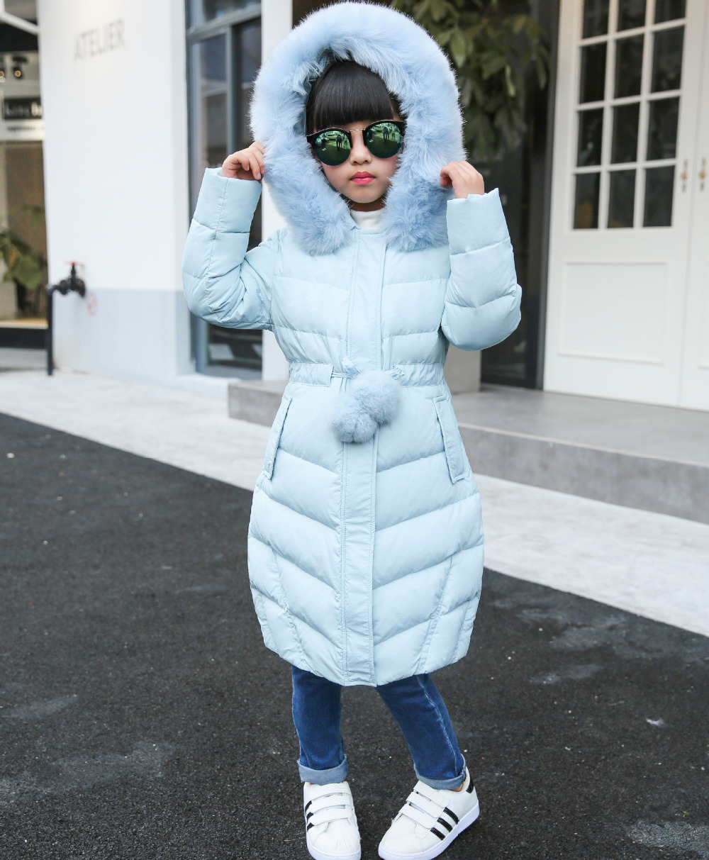 New 2017 girl jacket fur hooded long coat kids big girl thick overcoat casual fashion outwear solid classic clohing girl garmet<br>