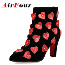 Airfour High Heels Sexy Red Zipper Short Boots Spring Autumn Appliques Shoes Woman Pointed Toe Ankle Boots Women Design Boots