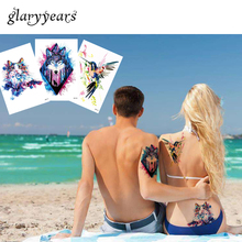 3 Pieces glaryyears Temporary Tattoo Stickers Watercolor Animals Flower Raccoon Women Man Body Art Water Transfer Tattoo Sticker(China)