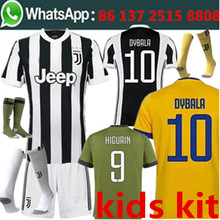 Free shipping 2017 2018 15 kids kit football jersey Juventusing child best quality camisetas de futbol Soccer jersey(China)