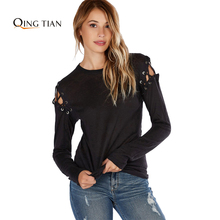 QING TIAN 2017 New Solid Black Women Sexy Casual T-shirt Street Hollow Out Cold Shoulder Tops Autumn O Neck Lace Up Basic Tees