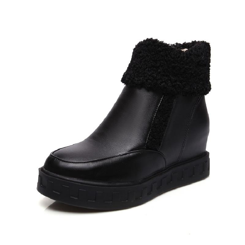 SALCXOI ankle boots for women 2017 winter boots women snow boots PU plush height increasing shoes woman free shipping &amp;9963-5<br>