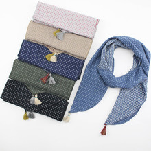 Baby Boy Girl Scarves Kids Children Toddler Cotton Linen Scarf Autumn Wniter Dotted Tassel Striped Linen Child Scarf