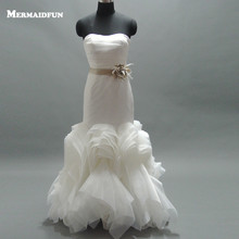 Beauty Bridal Mermaid /Trumpet Backless Wedding Dresses Floor Length  Appliques  Bridal Gowns