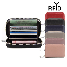 Buy Card Holder RFID Unisex Female Male Wallet Bank Card Id Genuine Leather Cow Luxury Brand Zipper Women Small Purse Multiple for $7.86 in AliExpress store