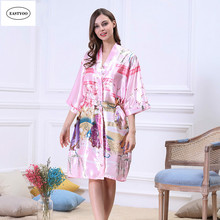 Chinese Silk Dressing Gown Flowers Satin Bathrobe Long Belt Bride Nightgowns Chinese Silk Pajamas Plus Size Women Kimono Robes