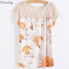 Womens 3D Sunflower Printed T-Shirt Lace Patchwork T Shirts Batwing Sleeve Casual Cotton Blends Tops XXL 2017 Summer 5 Color