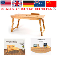 Computer Table Portable Bamboo Laptop Stand Desk Modern Notebook Table Cooling Fan Mouse Holder Tray Bed