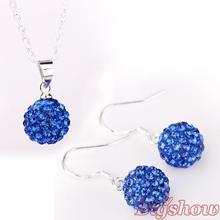 silver plated necklace earrings shamballa jewelry set with Crystals drop earring Blue Stone
