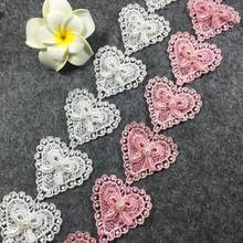 New Design 3 Yards 4.5CM Width Lace Trims Elegent Heart beaded Lace Applique Trimmings Clothing Edging Beaded Trim Crafts