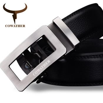 Cowather 2017 cinturones de lujo para los hombres de cuero de vaca genuino correa masculina automática hebilla de cinturón de diseño de moda más nuevo envío libre